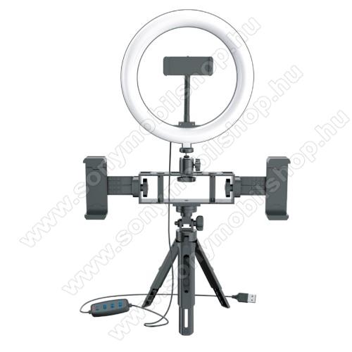 UNIVERZÁLIS telefon tartó tripod állvány / körfény - 20cm LED körfény, állítható színhőmérséklet / fényerő, 10W,  360°-ban forgatható, egyszerre három telefonnal is használható, állítható magasság, 1/4
