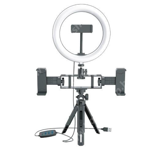 """HUAWEI Honor V40 5G UNIVERZÁLIS telefon tartó tripod állvány / körfény - 20cm LED körfény, állítható színhőmérséklet / fényerő, 10W,  360°-ban forgatható, egyszerre három telefonnal is használható, állítható magasság, 1/4"""" univerzális csavar, 60-85mm-ig nyíló bölcsők - FEKET"""