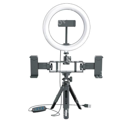 """UNIVERZÁLIS telefon tartó tripod állvány / körfény - 20cm LED körfény, állítható színhőmérséklet / fényerő, 10W,  360°-ban forgatható, egyszerre három telefonnal is használható, állítható magasság, 1/4"""" univerzális csavar, 60-85mm-ig nyíló bölcsők - FEKET"""