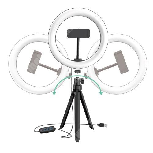 """HomTom H17 Pro UNIVERZÁLIS telefon tartó tripod állvány / körfény - 20cm LED körfény, állítható színhőmérséklet / fényerő, 3200-5800K, 360°-ban forgatható, 1/4"""" univerzális csavar, 60-85mm-ig nyíló bölcső - FEKETE"""