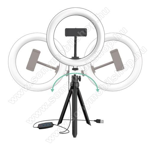 UNIVERZÁLIS telefon tartó tripod állvány / körfény - 20cm LED körfény, állítható színhőmérséklet / fényerő, 3200-5800K, 360°-ban forgatható, 1/4