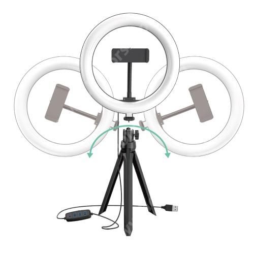 """HUAWEI Honor V40 5G UNIVERZÁLIS telefon tartó tripod állvány / körfény - 20cm LED körfény, állítható színhőmérséklet / fényerő, 3200-5800K, 360°-ban forgatható, 1/4"""" univerzális csavar, 60-85mm-ig nyíló bölcső - FEKETE"""