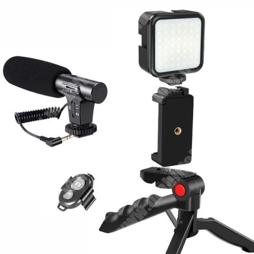 """PHILIPS W5510 UNIVERZÁLIS telefon tartó tripod állvány / vlog streaming kezdőszett - 5W LED fény, 1/4"""" csavar, állítható színhőmérséklet / fényerő, 3.5mm jack mikrofon, 360°-ban forgatható, összecsukható, Bluetooth kioldóval - FEKETE"""