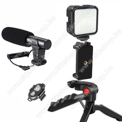 UNIVERZÁLIS telefon tartó tripod állvány / vlog streaming kezdőszett - 5W LED fény, 1/4
