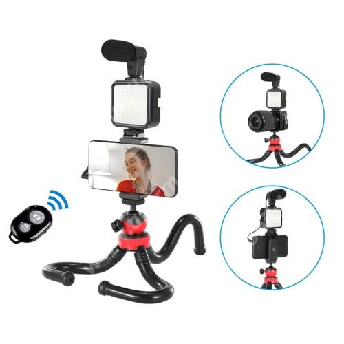 """ACER Liquid Z3 UNIVERZÁLIS telefon tartó tripod állvány / vlog streaming kezdőszett - LED fény 2xAA elemmel használható (NEM TARTOZÉK), 1/4"""" csavar, állítható színhőmérséklet, fényerő, 3.5mm jack mikrofon, 360°-ban forgatható, összecsukható, flexibilis, Bluetooth kioldó"""