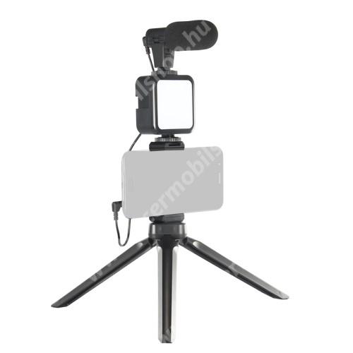 """ACER Liquid Z3 UNIVERZÁLIS telefon tartó tripod állvány / vlog streaming kezdőszett - LED fény 2xAA elemmel használható (NEM TARTOZÉK), 1/4"""" csavar, állítható színhőmérséklet, fényerő, 3.5mm jack mikrofon, 360°-ban forgatható, összecsukható, Bluetooth kioldóval - FEKETE"""