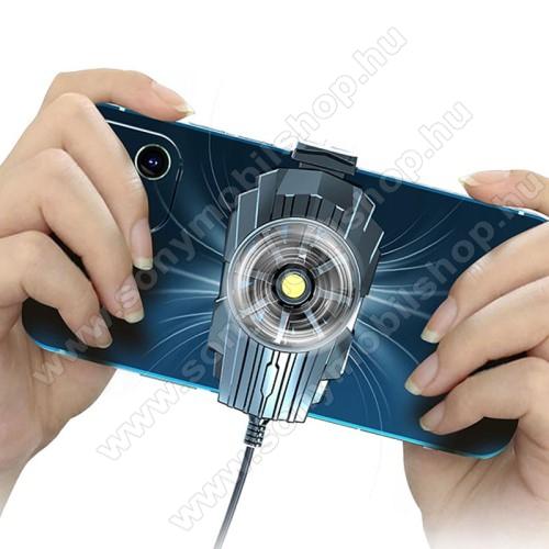 UNIVERZÁLIS telefonhűtő - beépített kábellel, 70-95mm-ig nyíló bölcső, 58 x 49 x 34 mm - FEKETE
