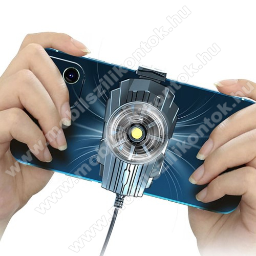UNIVERZÁLIS telefonhűtő - beépített USB Type-A kábellel, 70-95mm-ig nyíló bölcső, 58 x 49 x 34 mm - FEKETE