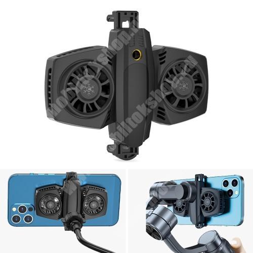 """Blackphone UNIVERZÁLIS telefonhűtő - Dupla ventilátor, Type-C bemente, USB kiment, univerzális 1/4""""-es csatlakozó, 68-88mm-ig nyíló bölcső - FEKETE"""