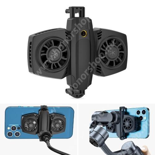 """HUAWEI Honor 3 UNIVERZÁLIS telefonhűtő - Dupla ventilátor, Type-C bemente, USB kiment, univerzális 1/4""""-es csatlakozó, 68-88mm-ig nyíló bölcső - FEKETE"""