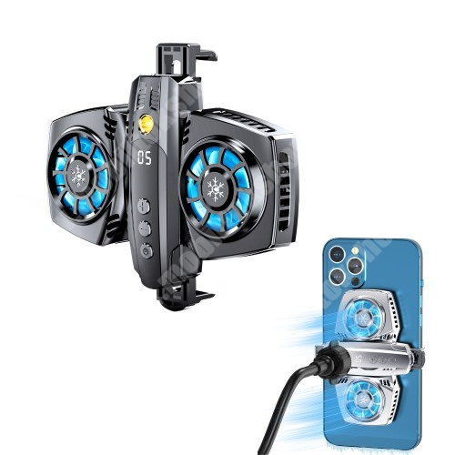 """Blackphone UNIVERZÁLIS telefonhűtő - Dupla ventilátor, Type-C bement, USB kiment, univerzális 1/4""""-es csatlakozó, állítható fokozat, RGB LED, gömbfej adapterrel, 66-90mm-ig nyíló bölcső - SÖTÉTSZÜRKE"""