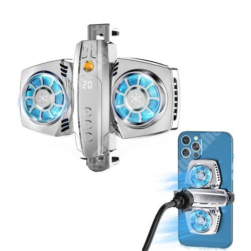 """Blackphone UNIVERZÁLIS telefonhűtő - Dupla ventilátor, Type-C bement, USB kiment, univerzális 1/4""""-es csatlakozó, állítható fokozat, RGB LED, gömbfej adapterrel, 66-90mm-ig nyíló bölcső - EZÜST"""