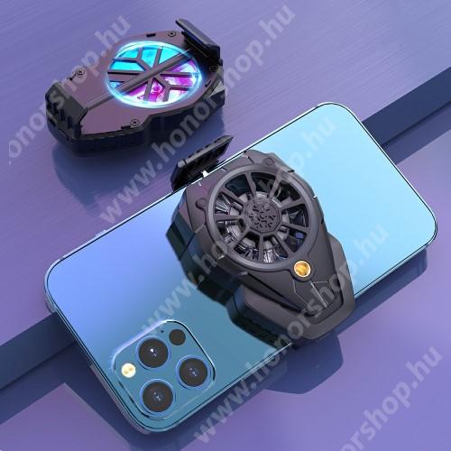 HUAWEI Honor 3 UNIVERZÁLIS telefonhűtő - háromfokozatú sebességállítás, beépített 300mAh akkumulátor, 5,38 x 8 x 3,1cm - FEKETE
