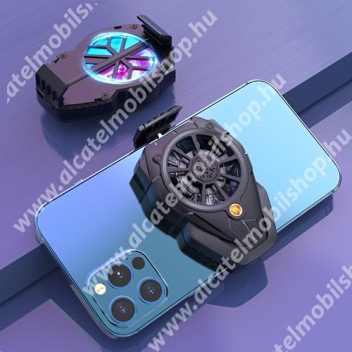 UNIVERZÁLIS telefonhűtő - háromfokozatú sebességállítás, beépített 300mAh akkumulátor, 5,38 x 8 x 3,1cm - FEKETE