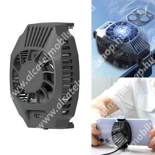 UNIVERZÁLIS telefonhűtő / QI töltő - Type-C port, 68-87mm-ig nyíló bölcső, beépített QI Wireless vezetéknélküli töltő funkcióval, fogadóegység nélkül! - FEKETE