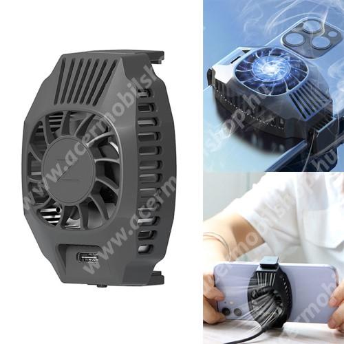 ACER Liquid Z3 UNIVERZÁLIS telefonhűtő / QI töltő - Type-C port, 68-87mm-ig nyíló bölcső, beépített QI Wireless vezetéknélküli töltő funkcióval, fogadóegység nélkül! - FEKETE