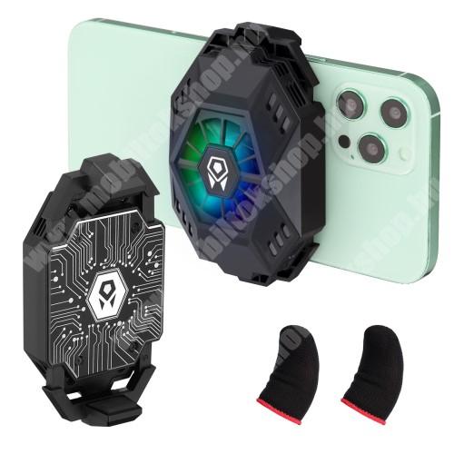"""Blackphone UNIVERZÁLIS telefonhűtő / ujjra húzható kesztyű - Type-C aljzat, univerzális 1/4""""-es csatlakozó, 67-86mm-ig nyíló bölcső - FEKETE"""