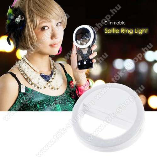 UNIVERZÁLIS telefonra illeszthető LED szelfi körfény gyűrű - állítható fényerő, 3  2x AAA elemmel működik (nem tartozék) - FEHÉR
