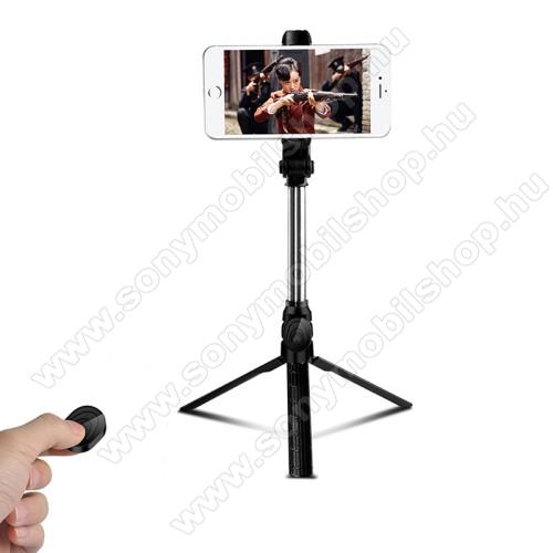 SONY Xperia C4 DUAL (E5333/E5343/E5363)UNIVERZÁLIS teleszkópos selfie bot és tripod állvány - BLUETOOTH KIOLDÓVAL, 360 fokban forgatható, max 75cm hosszú nyél - FEKETE