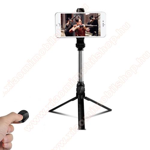 Xiaomi Mi 10T Pro 5GUNIVERZÁLIS teleszkópos selfie bot és tripod állvány - BLUETOOTH KIOLDÓVAL, 360 fokban forgatható, max 75cm hosszú nyél - FEKETE
