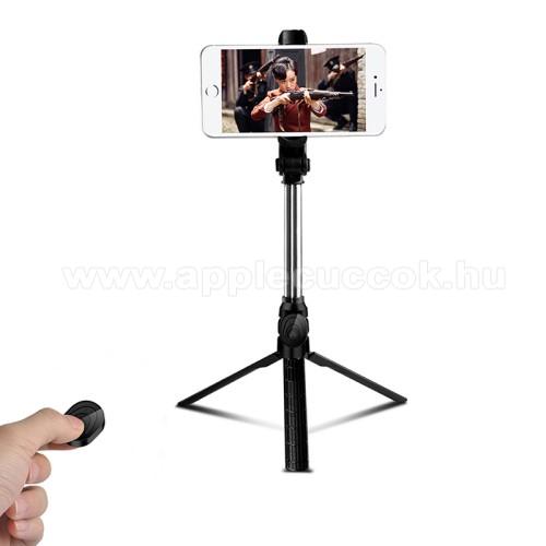 APPLE iPhone XUNIVERZÁLIS teleszkópos selfie bot és tripod állvány - BLUETOOTH KIOLDÓVAL, 360 fokban forgatható, max 75cm hosszú nyél - FEKETE