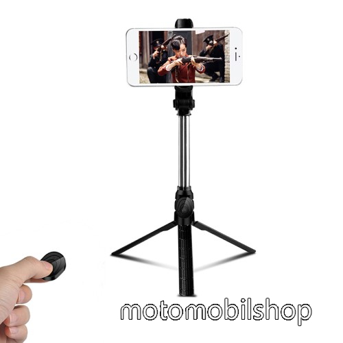 MOTOROLA MPX100 UNIVERZÁLIS teleszkópos selfie bot és tripod állvány - BLUETOOTH KIOLDÓVAL, 360 fokban forgatható, max 75cm hosszú nyél - FEKETE