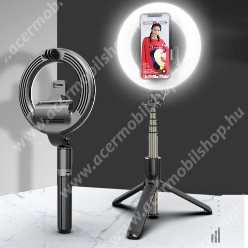 UNIVERZÁLIS teleszkópos selfie bot és tripod állvány - BLUETOOTH KIOLDÓVAL, 4W-os szelfi körfénnyel, 360 fokban forgatható, összecsukható, 19-90cm-ig állítható magasság, 1200mAh beépített akku - FEKETE