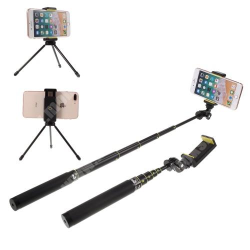MOTOROLA Moto G4 UNIVERZÁLIS teleszkópos selfie bot és tripod állvány - BLUETOOTH KIOLDÓVAL, GoPro kompatibilis, 360 fokban forgatható, 50-80mm-es bölcsővel, max 80cm hosszú nyél, csuklópánt, karabiner - FEKETE