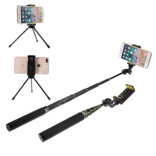 UNIVERZÁLIS teleszkópos selfie bot és tripod állvány - BLUETOOTH KIOLDÓVAL, GoPro kompatibilis, 360 fokban forgatható, 50-80mm-es bölcsővel, max 80cm hosszú nyél, csuklópánt, karabiner - FEKETE