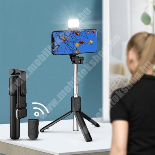UNIVERZÁLIS teleszkópos selfie bot és tripod állvány - BLUETOOTH KIOLDÓVAL, LED szelfi fénnyel, 360 fokban forgatható, állítható színhőmérséklet, 18.5-74cm-ig állítható, 90mm-ig nyíló bölcső - FEKETE