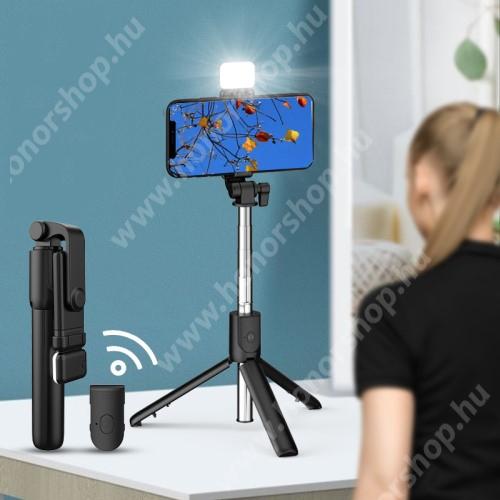 HUAWEI Honor V40 5G UNIVERZÁLIS teleszkópos selfie bot és tripod állvány - BLUETOOTH KIOLDÓVAL, LED szelfi fénnyel, 360 fokban forgatható, állítható színhőmérséklet, 18.5-74cm-ig állítható, 90mm-ig nyíló bölcső - FEKETE