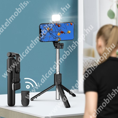 ALCATEL OTE 301 UNIVERZÁLIS teleszkópos selfie bot és tripod állvány - BLUETOOTH KIOLDÓVAL, LED szelfi fénnyel, 360 fokban forgatható, állítható színhőmérséklet, 18.5-74cm-ig állítható, 90mm-ig nyíló bölcső - FEKETE