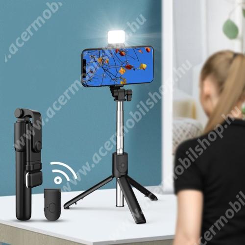 ACER Liquid Z3 UNIVERZÁLIS teleszkópos selfie bot és tripod állvány - BLUETOOTH KIOLDÓVAL, LED szelfi fénnyel, 360 fokban forgatható, állítható színhőmérséklet, 18.5-74cm-ig állítható, 90mm-ig nyíló bölcső - FEKETE