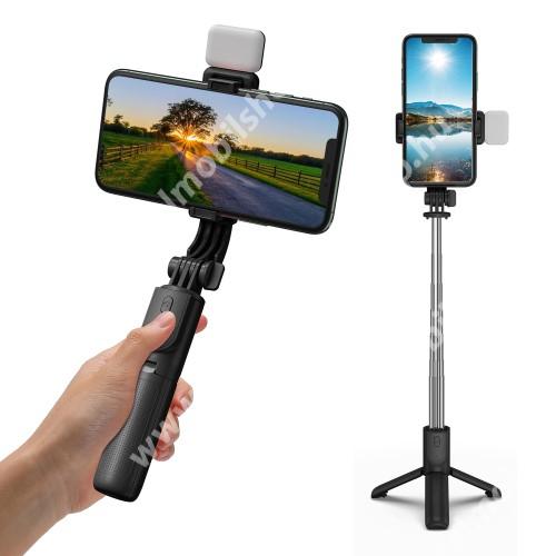 ALCATEL OTE 301 UNIVERZÁLIS teleszkópos selfie bot és tripod állvány - BLUETOOTH KIOLDÓVAL, LED szelfi fénnyel, 360 fokban forgatható, 74cm-ig kihúzható, 57-88mm-ig nyíló bölcső - FEKETE
