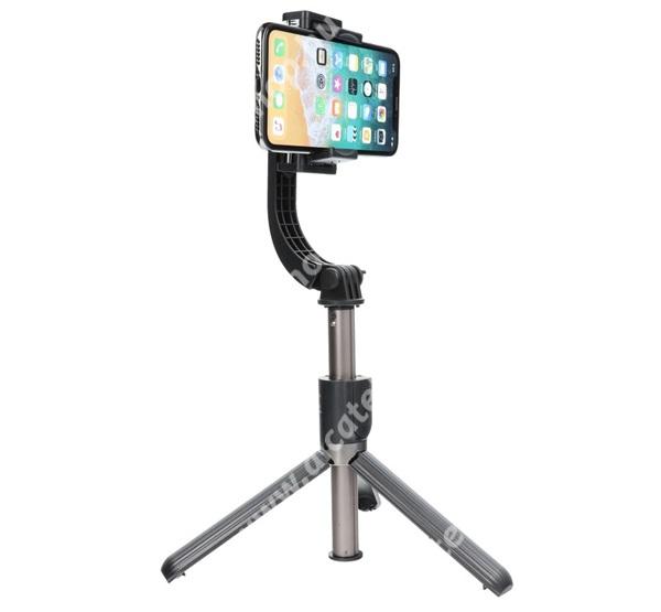 ALCATEL OTE 301 UNIVERZÁLIS teleszkópos selfie bot / stabilizátor / tripod állvány - BLUETOOTH KIOLDÓVAL, 360°-ban forgatható, 86cm magas - FEKETE