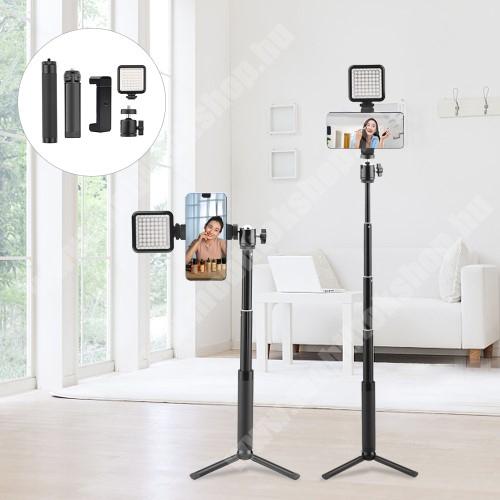 ALCATEL A30 UNIVERZÁLIS teleszkópos selfie bot / tripod állvány - LED selfie fény, 360 fokban forgatható, max 15-56cm hosszú nyél,  60mm-90mm-ig állítható telefon tartó bölcső, univerzális 1/4 csavar - FEKETE