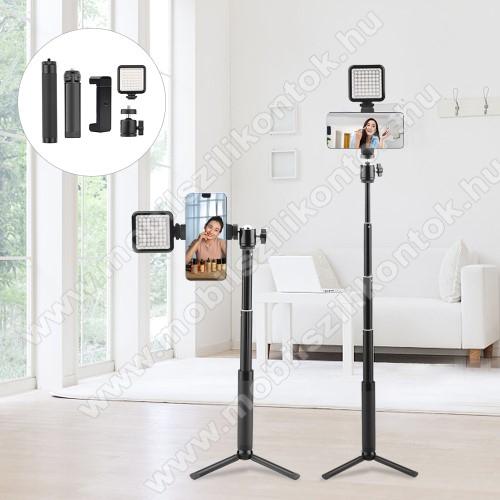 UNIVERZÁLIS teleszkópos selfie bot / tripod állvány - LED selfie fény, 360 fokban forgatható, max 15-56cm hosszú nyél,  60mm-90mm-ig állítható telefon tartó bölcső, univerzális 1/4 csavar - FEKETE