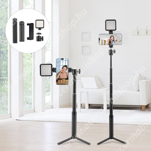 ACER Iconia Tab A1-811 UNIVERZÁLIS teleszkópos selfie bot / tripod állvány - LED selfie fény, 360 fokban forgatható, max 15-56cm hosszú nyél,  60mm-90mm-ig állítható telefon tartó bölcső, univerzális 1/4 csavar - FEKETE