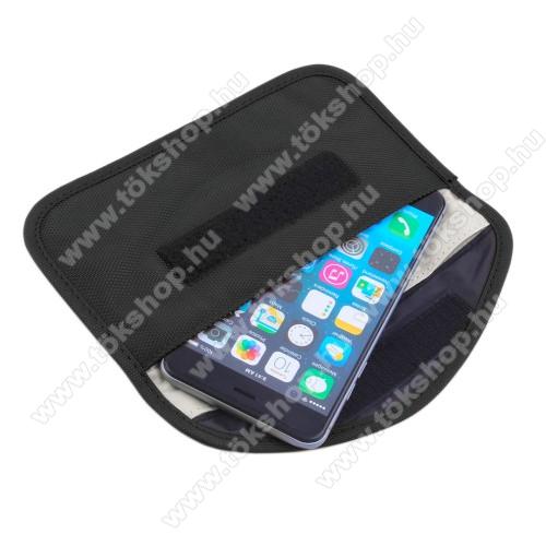 Vodafone VPA Compact IV (HTC Herald)UNIVERZÁLIS Térerő blokkoló fekvő tok - tépőzáras záródás - 195 x 105 mm - FEKETE