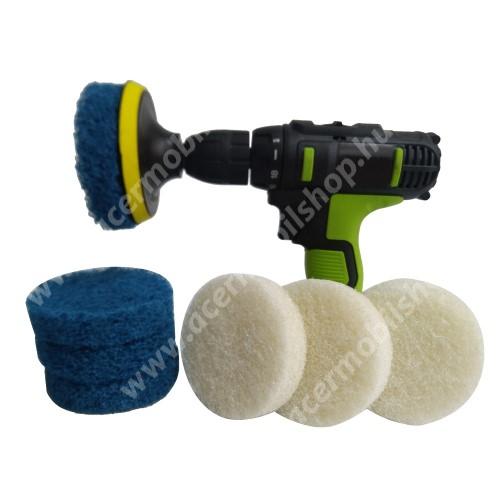 ACER Liquid Z3 UNIVERZÁLIS tisztítókefe szett fúrógéphez - 6db kefe, 3db kék keményebb és 3db fehér ami puhább, háztartásbeli és házkörüli súrolásokhoz is alkalmas, nem karcolják meg a felületeket - KÉK / FEHÉR