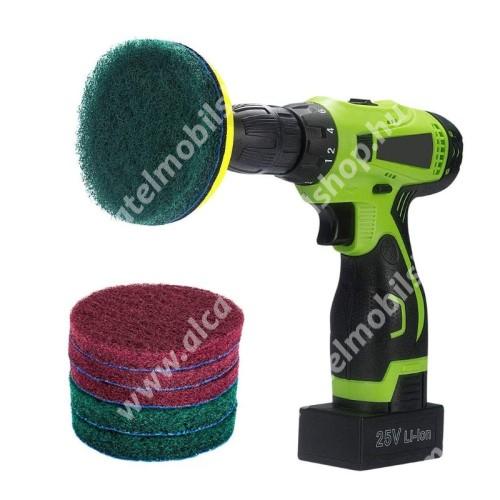 ALCATEL OTE 301 UNIVERZÁLIS tisztítókefe szett fúrógéphez - 6db kefe, 3db zöld keményebb és 3db piros ami puhább, tépőzáras, háztartásbeli és házkörüli súrolásokhoz is alkalmas - ZÖLD / PIROS
