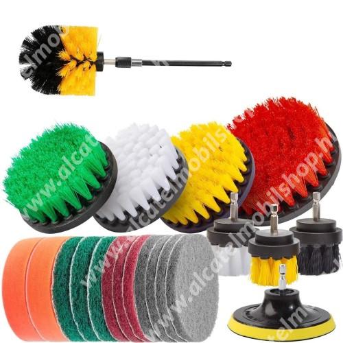 ALCATEL OTE 301 UNIVERZÁLIS tisztítókefe szett fúrógéphez - tépőzáras, 1x 150mm-es hosszabbító rúd, különböző keménységűek, formájúak és méretűek, 5 különböző merevségű fehér: puha, sárga és zöld: közepes, piros és fekete: kemény, háztartásbeli és házkörüli súrolásokhoz