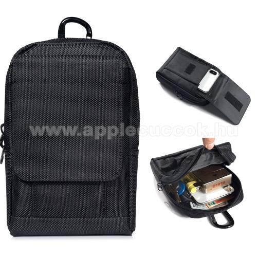 APPLE iPhone 6sUNIVERZÁLIS tok - FEKETE - álló, cipzár, több fakkos, karabiner, övre fűzhető, első zseb mérete 130 x 110mm - 180 x 120 x 40mm