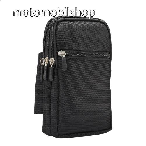 MOTOROLA Moto G5 Plus UNIVERZÁLIS tok - FEKETE - álló, zipzár, több fakkos, karabíner, övre fűzhető - 115 x 190 x 45 mm