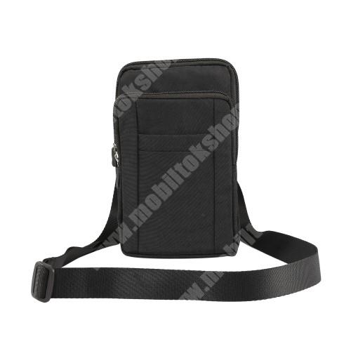 PRESTIGIO MultiPhone 5300 Duo UNIVERZÁLIS tok - FEKETE - álló, zipzár, több fakkos, vízálló, párnázott belső, vállpánt, karabíner, övre fűzhető - 110 x 185 x 30 mm