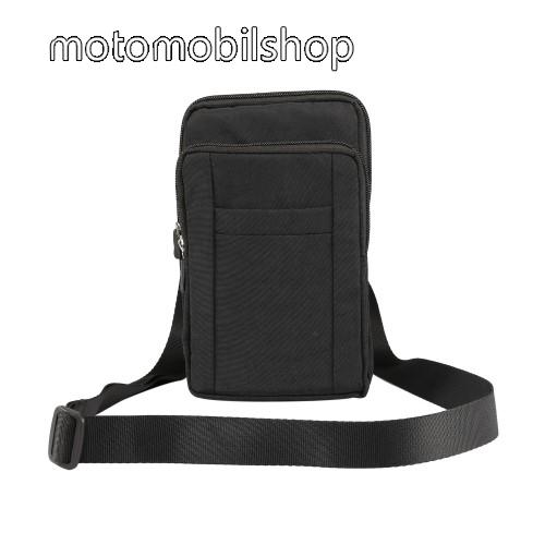 MOTOROLA Moto E4 UNIVERZÁLIS tok - FEKETE - álló, zipzár, több fakkos, vízálló, párnázott belső, vállpánt, karabíner, övre fűzhető - 110 x 185 x 30 mm