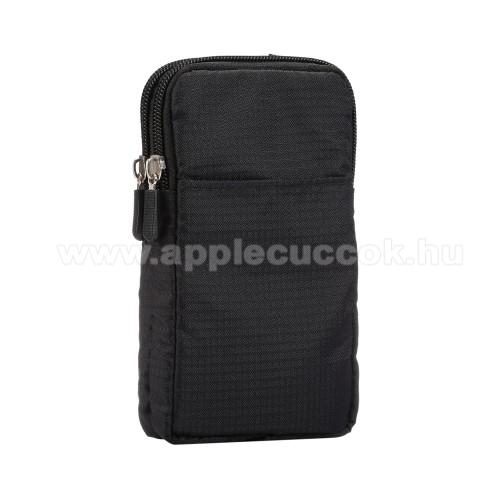 APPLE iPhone XS MaxUNIVERZÁLIS tok - FEKETE - álló, zipzár, több fakkos, karabíner, övre fűzhető, hevederrel - 180 x 100 x 35 mm - 6,3-6,9
