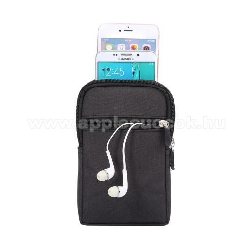 APPLE iPhone 11 ProUNIVERZÁLIS tok - FEKETE - álló, zipzár, több fakkos, karabíner, övre fűzhető - 110 x 180 x 25 mm