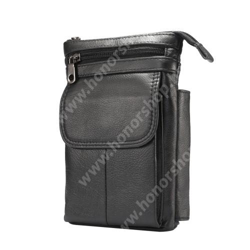 HUAWEI Honor 8 Premium UNIVERZÁLIS tok - FEKETE - valódi bőr, álló, zipzár, több fakkos, mágnespatent, állítható vállpánt 150cm hosszú, tolltartó, karabíner, övre fűzhető - 180 x 130 x 30 mm