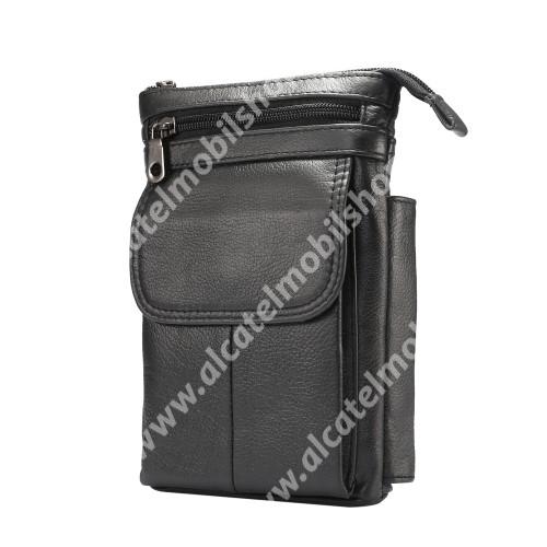 ALCATEL A5 LED UNIVERZÁLIS tok - FEKETE - valódi bőr, álló, zipzár, több fakkos, mágnespatent, állítható vállpánt 150cm hosszú, tolltartó, karabíner, övre fűzhető - 130 x 180 x 30 mm